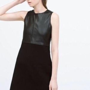 Zara Black Faux Leather Knit Sleeveless Wool Dress